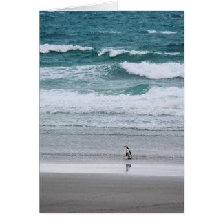 Penguin returning from the ocean card