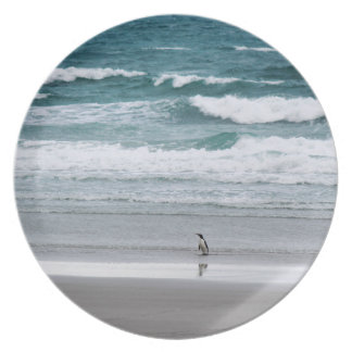 Penguin returning from the ocean party plates