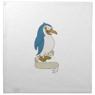 Penguin Ribbon Scroll Cartoon Napkin