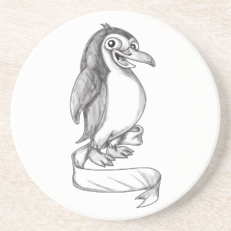 Penguin Ribbon Side Tattoo Coaster