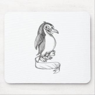 Penguin Ribbon Side Tattoo Mouse Pad