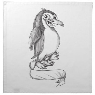 Penguin Ribbon Side Tattoo Napkin