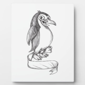 Penguin Ribbon Side Tattoo Plaque