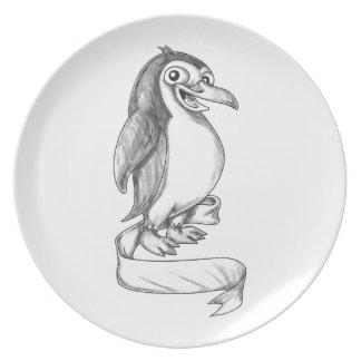 Penguin Ribbon Side Tattoo Plate