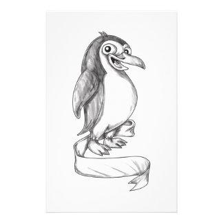 Penguin Ribbon Side Tattoo Stationery