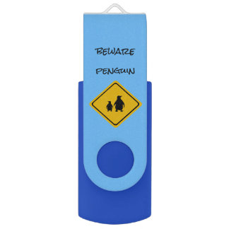 penguin road sign - USB flashdrive USB Flash Drive