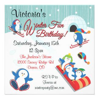 Penguin s Winter Fun Birthday Invitations