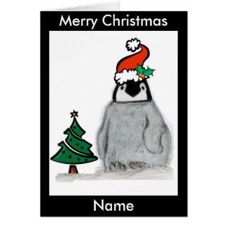 Penguin Santa Hat Christmas Art Cart personalise Card