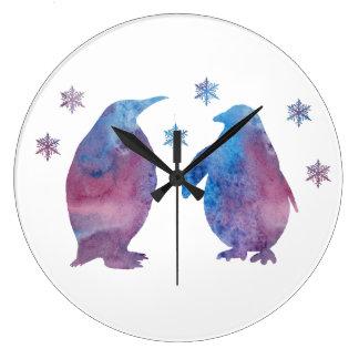 Penguin Silhouette Large Clock