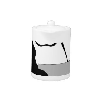 Penguin Sitting Holding Cup Looking Cartoon