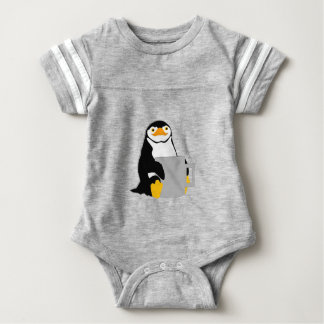 Penguin Sitting Holding Cup Looking Cartoon Baby Bodysuit
