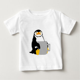 Penguin Sitting Holding Cup Looking Cartoon Baby T-Shirt