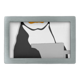 Penguin Sitting Holding Cup Looking Cartoon Belt Buckle