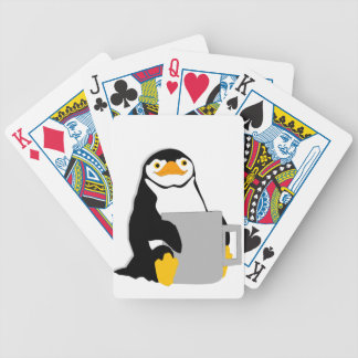 Penguin Sitting Holding Cup Looking Cartoon Bicycle Playing Cards