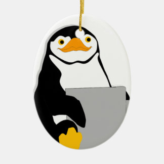 Penguin Sitting Holding Cup Looking Cartoon Ceramic Ornament