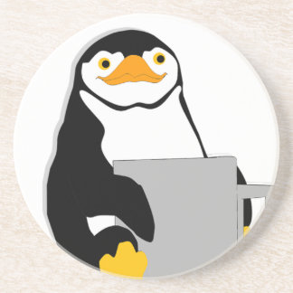 Penguin Sitting Holding Cup Looking Cartoon Coaster