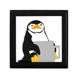 Penguin Sitting Holding Cup Looking Cartoon Gift Box