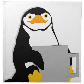Penguin Sitting Holding Cup Looking Cartoon Napkin