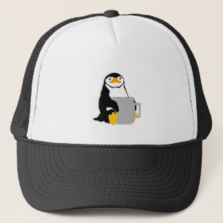Penguin Sitting Holding Cup Looking Cartoon Trucker Hat