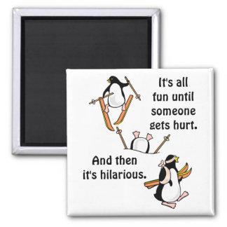 Penguin Ski Adventure Square Magnet