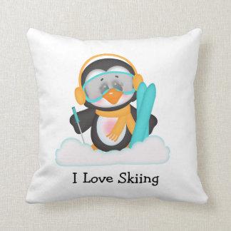 Penguin Skiing Throw Pillow