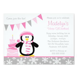 "Penguin Snowflakes Pink Winter Onederland Birthday 4.5"" X 6.25"" Invitation Card"