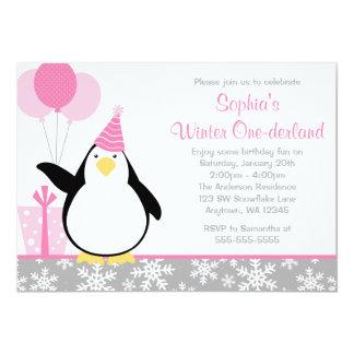 Penguin Snowflakes Winter Onederland Birthday Card