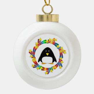 Penguin Stars Ceramic Ball Christmas Ornament