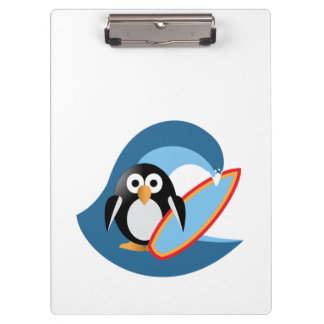 Penguin surfer clipboard