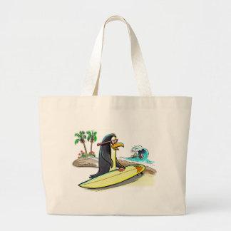pEnGuIn sUrFeR Large Tote Bag