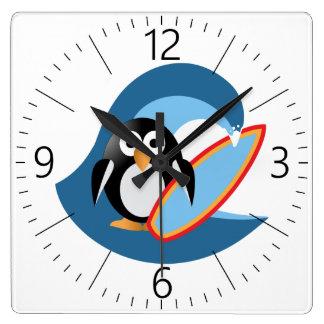 Penguin surfer square wall clock