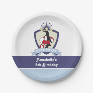 Penguin Swim Club Kids Birthday Pool Party 7 Inch Paper Plate
