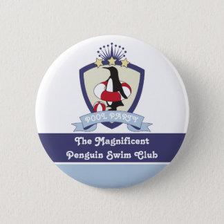 Penguin Swim Club Kids Birthday Pool Party Favor 2 Inch Round Button