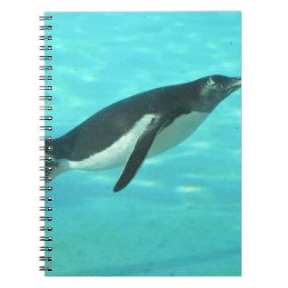 Penguin Swimming Underwater Notebook