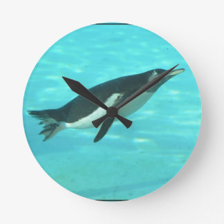 Penguin Swimming Underwater Wallclocks