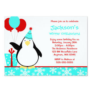 "Penguin Teal Snowflakes Winter Onederland Birthday 5"" X 7"" Invitation Card"