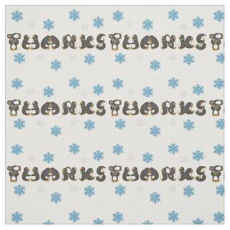 Penguin Thanks Thank You Snow Snowflake Fabric