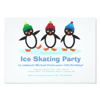 "Penguin Trio Boys Ice Skating Birthday Party 5"" X 7"" Invitation Card"