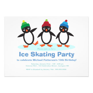 Penguin Trio Boys Ice Skating Birthday Party Personalized Announcement