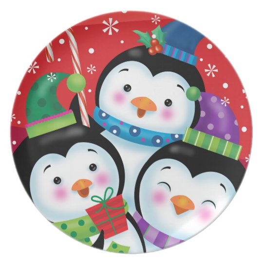 Penguin Trio Christmas Plate