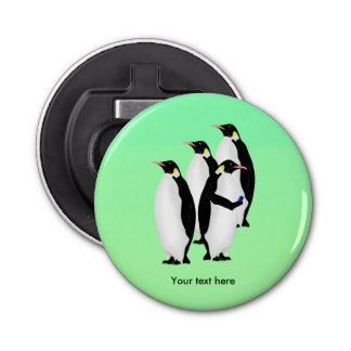 Penguin Using A Cellphone Button Bottle Opener
