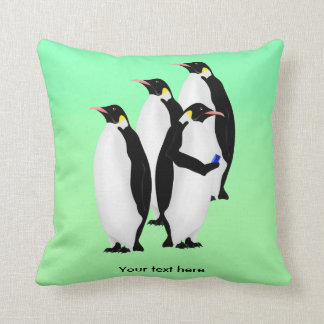 Penguin Using A Cellphone Throw Pillow