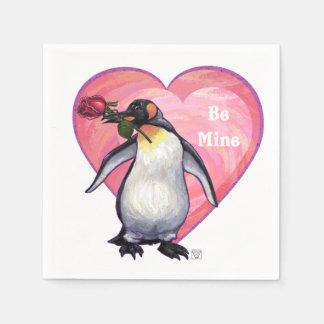 Penguin Valentine's Day Paper Napkins
