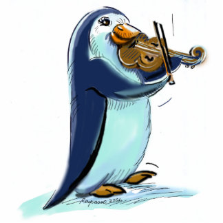 PeNgUiN ViOliNiSt Standing Photo Sculpture