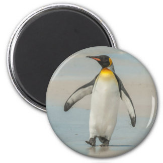 Penguin walking on the beach 2 inch round magnet