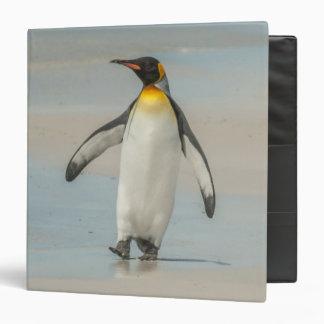 Penguin walking on the beach 3 ring binder