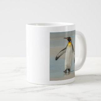 Penguin walking on the beach large coffee mug