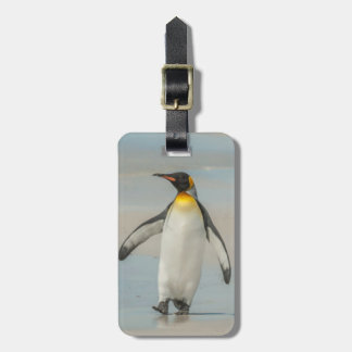 Penguin walking on the beach luggage tag