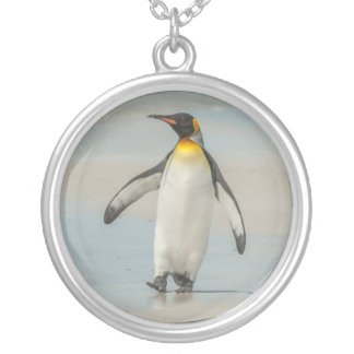 Penguin walking on the beach silver plated necklace