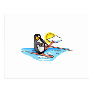 PENGUIN WATER SKIING POSTCARD